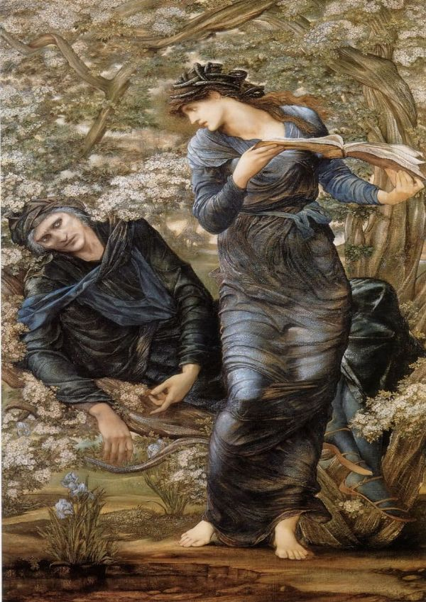 Burne-Jones, Sir Edward Coley: The Beguiling of Merlin. Fine Art Print/Poster. Sizes: A4/A3/A2/A1 (00453)
